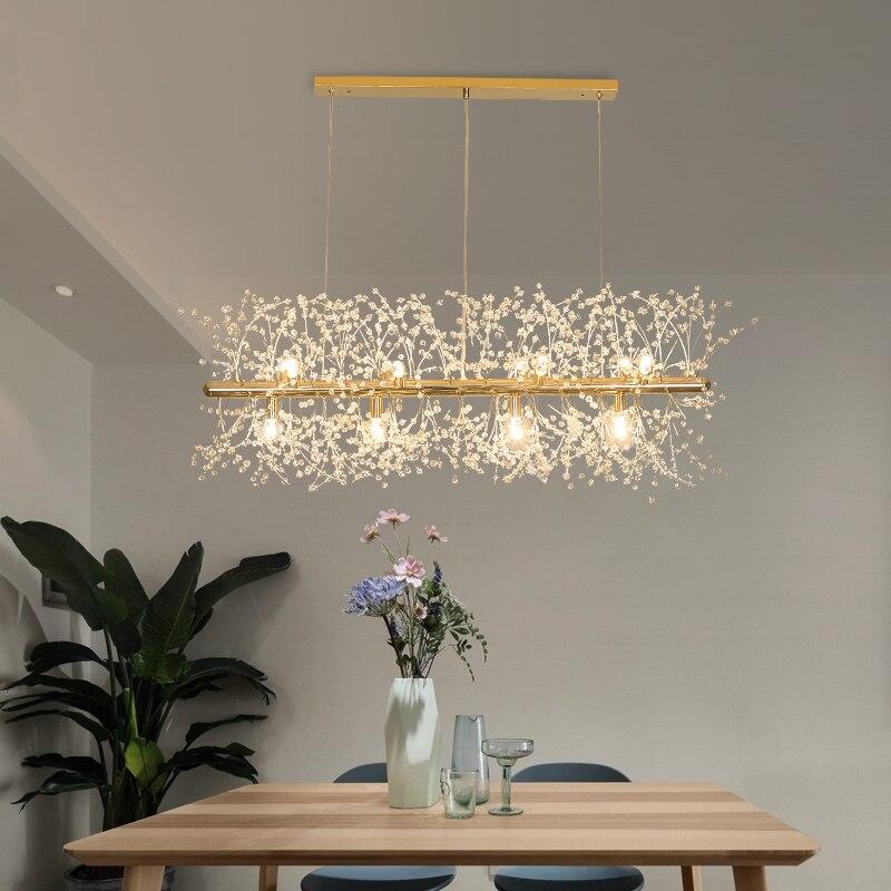 Snowflake Led Chandelier Nordic Style Lamp Creative Personality Crystal Model Atmosphere Light Luxury Living Room Lighting