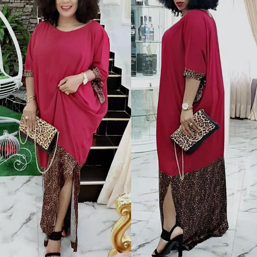 New African Dresses For Women Bazin Riche Getzner 2020  Africa Leopard Print Red Dress Sexy Robe Africaine Ankara Moslem Dress