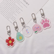 Cartoon Smiley Cat Claws Acrylic Keychain Hanging Decoration Headphone Sets Pendant Small Jewelry Women Accessories key Ring(China)