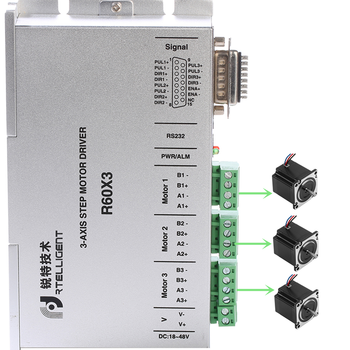 Rtelligent Nema 23 24 Stepper Motor Driver R60X3 Independently Drives Three 2-phase motor with below 60mm Stepper Motor used stepper drives 2hb605mae ac24 50v 5 0a