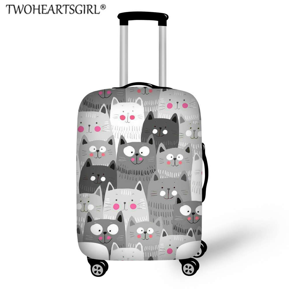 TWOHEARTSGIRL Colorful Cat Print Thicker Travel Luggage Cover Suitcase Protective Case Travel Accessorie Baggag Elastic Cover