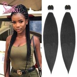 SOKU-Extensions de cheveux synthétiques faciles à tresser, mèches Yaki, mèches d'ez, lisses, au Crochet, 24 pouces