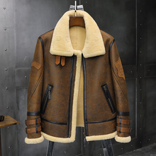 2019 New Mens B3 Sheepskin Shearling Jacket Lapel Leather Ja