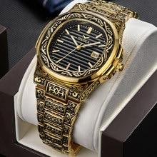 ONOLA – montre à Quartz rétro pour hommes, Top de luxe, montre-bracelet étanche, mode décontractée, doré classique, calendrier, horloge étanche