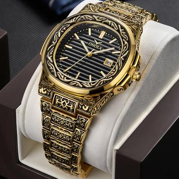 ONOLA Retro Top luksusowy zegarek kwarcowy mężczyźni zegarek wodoodporny moda Casual złoty klasyczny kalendarz wodoodporny zegarek męski zegar tanie i dobre opinie 24inch Luxury ru QUARTZ 3Bar Klamerka z zapięciem CN (pochodzenie) STOP 12mm Hardlex Kwarcowe zegarki Papier 40mm ON3808