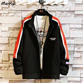 MarKyi 2020 autumn fashion striped print casual jacket for men plus size 5xl long sleeve winter jacket men striped trim raglan sleeve jacket