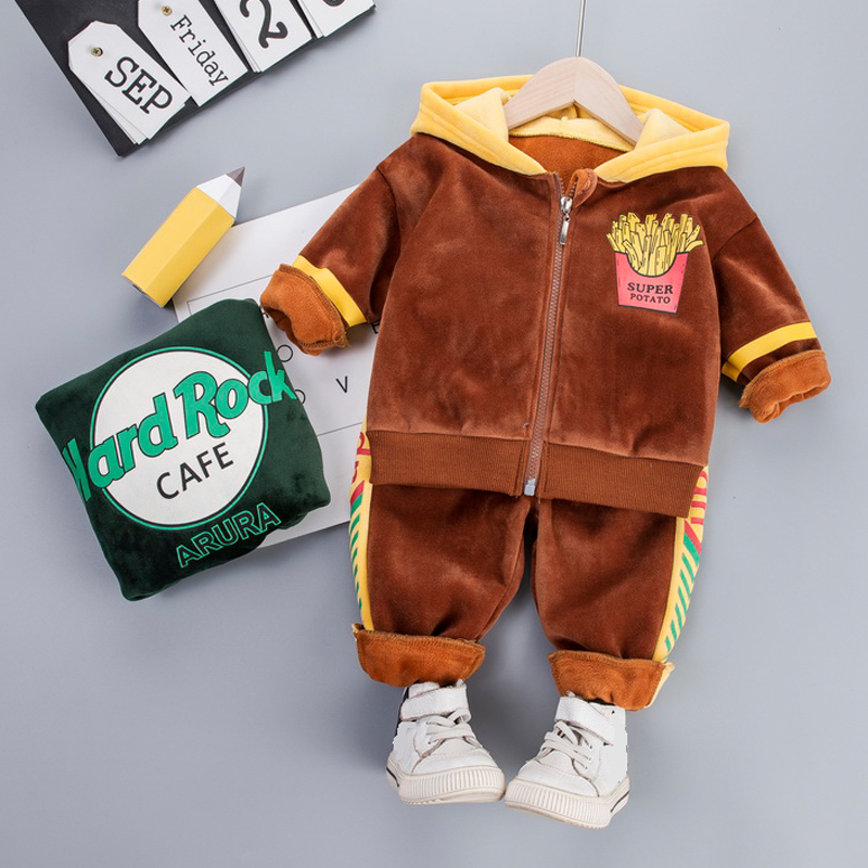 Hooded Baby Velvet Clothes Set 1-4 Years Kids Toddler Girl Boy Clothing French Fries Jacket + Sport Pants Children Clothes
