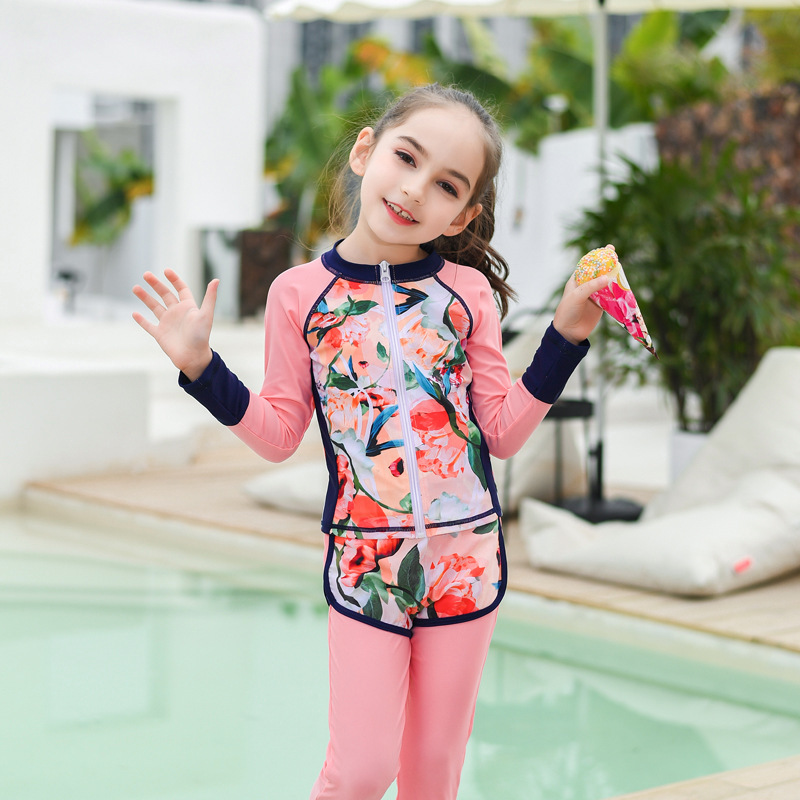 New Style KID'S Swimwear GIRL'S Split Type Long Sleeve Trousers Wetsuit Diving Suit Sun-resistant Quick-Dry Big Boy Swimwear