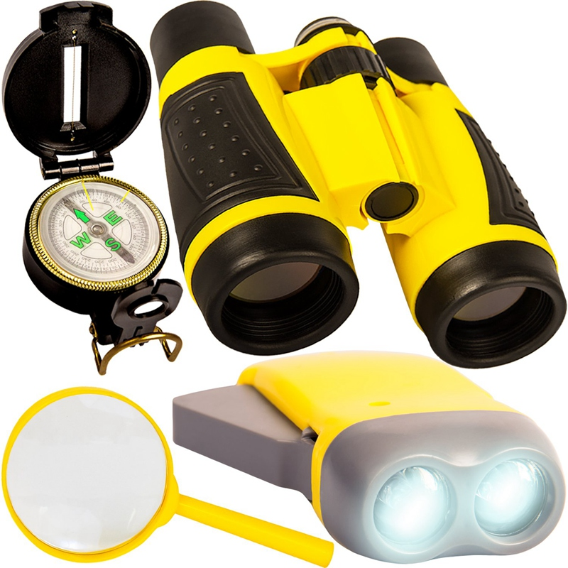 Outdoor Set Children Binoculars Flashlight Compass Magnifying Glass Toy Set Is Suitable for Camping Bird Watching image