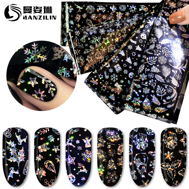 Cross Border For AliExpress Hot Selling Manicure Christmas-Star Adhesive Paper Thermal Transfer Stickers Christmas Snowflake Sti