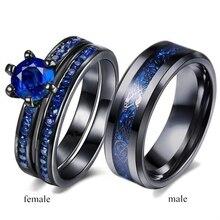 Trendy Liebhaber Ringe-Frauen Blau Zirkon Schwarz Ringe Set Männer Drachen Muster Edelstahl Ring Für Hochzeit Schmuck Liebhaber gif
