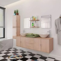 vidaXL 11 Piece Bathroom Furniture Set with Basin with Tap Beige 273688