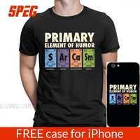Camisa engraçada do homem da tabela periódica do humor s ar ca sm ciência sarcasmo elementos primários química camiseta de algodão mais tamanho