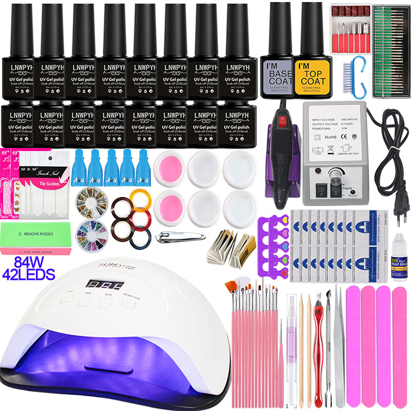 Nail Set With 84~36W UV LED Nail Lamp Optional 16/10 Color Gel Polish With Base Top Coat Extension Gel Electric Nail Drill Kit