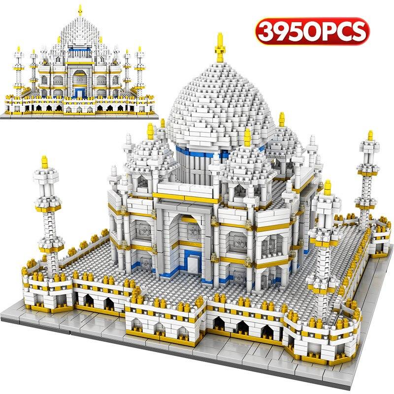 3950 pièces diamant Mini blocs mondialement célèbre Architecture Taj Mahal 3D modèle blocs de construction cadeaux briques cadeaux jouets pour les enfants