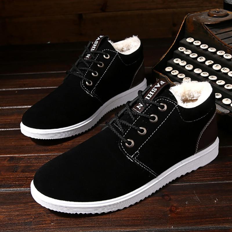 Men's Snow Boots Thicken Cotton Leisure Shoes Students' Warm Lace Up Canvas Shoes Winter Shoes Men Cotton Fabric 34-44