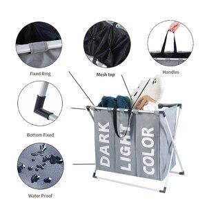 Image 4 - Shushi Лидер продаж, водонепроницаемый органайзер для белья с тремя ячейками, корзина для грязного белья для ванной, складная корзина для игрушек для дома