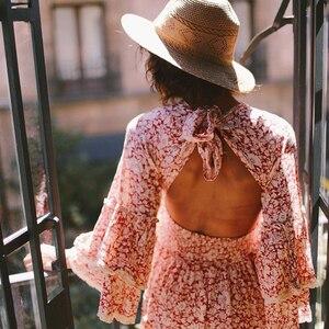 Image 4 - TEELYNN rosa kleid 2020 rayon langarm floral print herbst Kleider mini kurze frauen kleider garten party BOHO Kleid vestidos