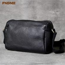 Pndme простая повседневная мужская сумка через плечо из натуральной