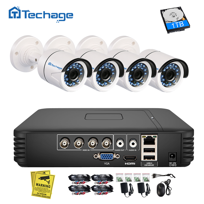 Techage 4CH 1080N AHD DVR Kit 720P CCTV System 1MP IR Night Vision Indoor Outdoor Camera Security Video Surveillance Set 1TB HDD