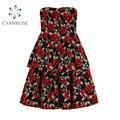 Женское платье-Бюстгальтер с открытыми плечами, элегантное приталенное платье во французском стиле с принтом роз черного, красного цветов, ...