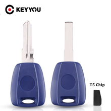KEYYOU 10X For Fiat Bravo Punto Ducato Daily Scudo Fob Transponder T5 Chip Key Shell Fit Replacement SIP22/GT15R Uncut Blade