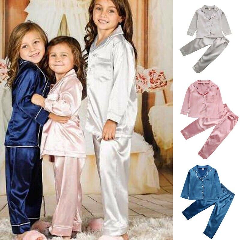 Children Baby Kid Girls Satin Solid Color Pyjama Set Langarm Button-Down Collar Button Decro Sleep Suit