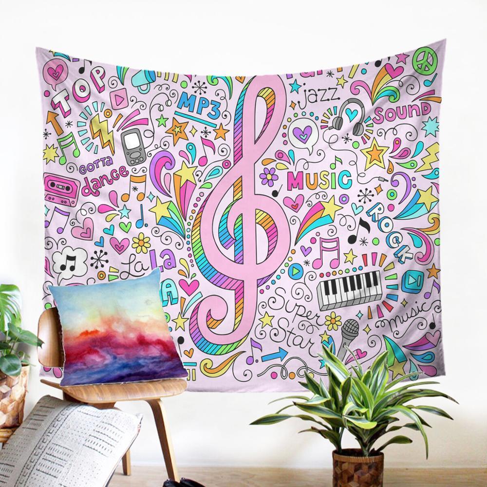 Хиппи настенный красивый настенный ковер с музыкальным рисунком граффити гобелен индивидуальное украшение красочная панель макраме