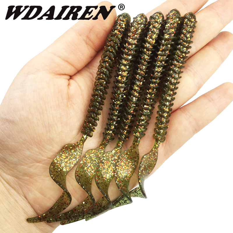 5Pcs Jig Wobbler Worm Soft Bait 10.5cm 3g  Fishing Lures Spiral Long Tail Swimbaits Artificial Rubber Baits Bass Fishing Tackle