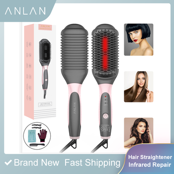 ANLAN Hair Straightener Brush Infrared Hair Straightener Irons Negative Ionic Hair Straightener Comb Hair Care Styling Tool Comb фото