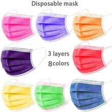 Mascarilla desechable de 3 capas para adultos, máscara facial de tela no tejida con filtro, color morado, naranja, verde, Multicolor, 10-100 Uds.