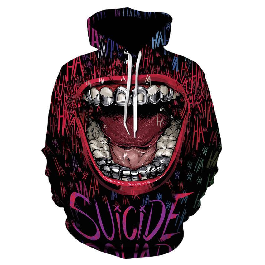 Film di Stephen King E Suicide Squad Il Clown Pennywise Felpe Halloween Costume Cosplay Uomini 3D stampa joker Felpa Con Cappuccio