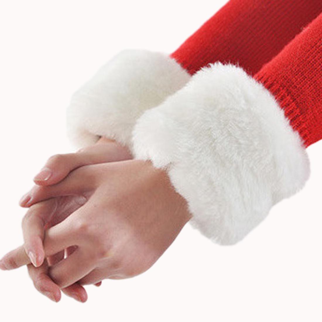 1 Pair Faux Fur Wrist Slap Women Fashion Winter Elastic Wrist Slap On Cuffs Ladies Solid Color Arm Warmer Plush Wrist Protector