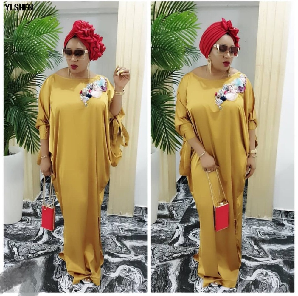 2019 African Dresses for Women Plus Size Boubou Africain Dashik Bow African Clothes New Flowers Robe Africa Dress Outfit Woman 01