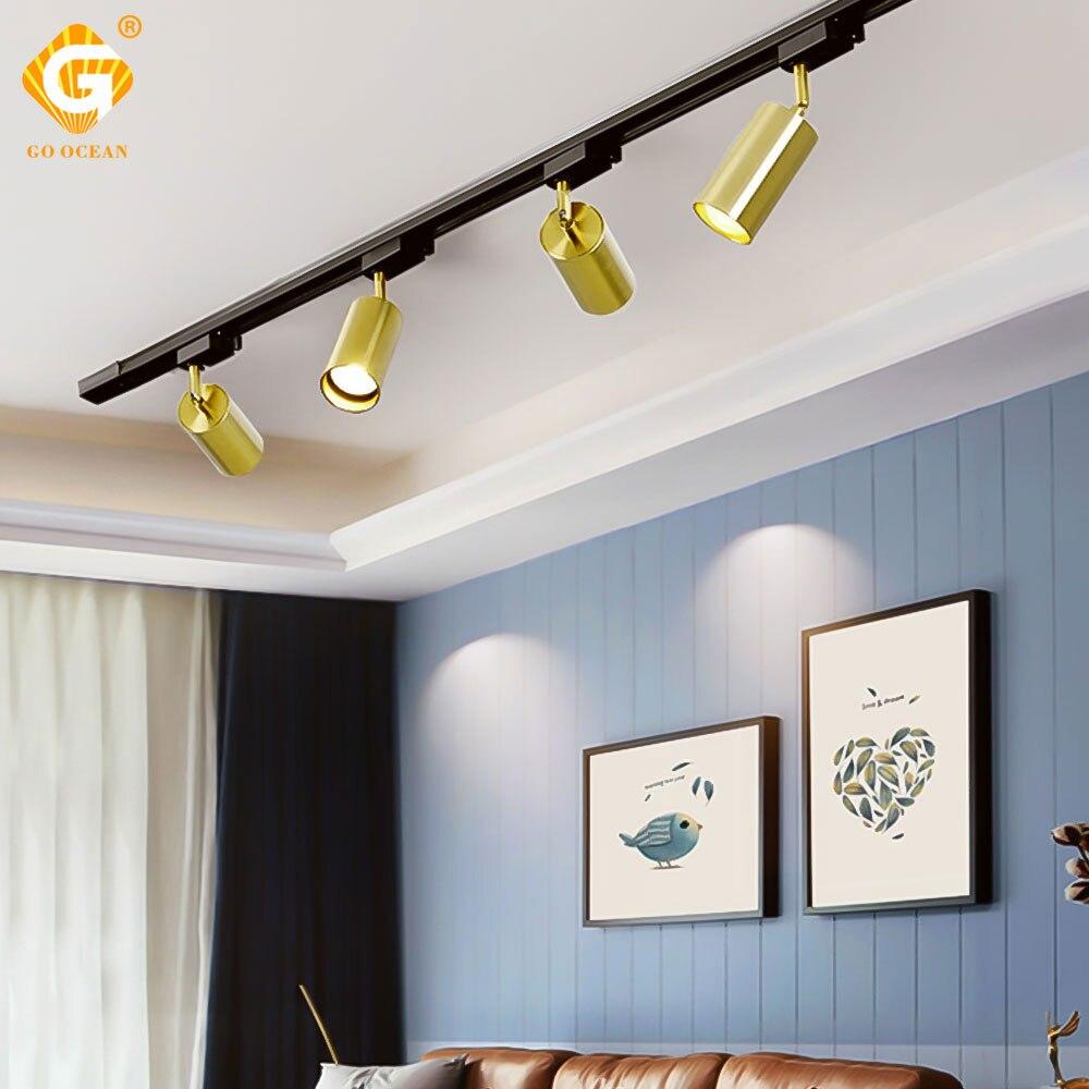 Einstellbare 15W 25W Gold FÜHRTE Track Licht 2 3 4 Draht Phase Leuchte Dimmbar Schiene Lichter Bar Gang wand Shop Decke Scheinwerfer