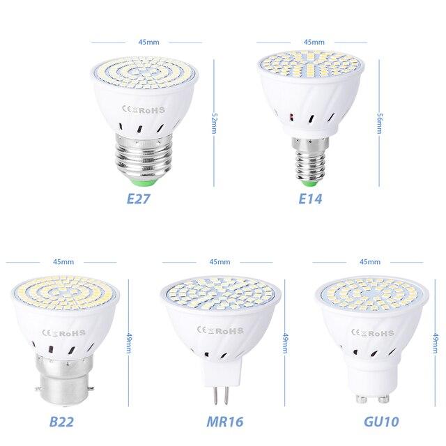 GU10 LED Bulb MR16 Spotlight Bulb 220V E14 Corn Bulb E27 Bombillas LED Lamp gu 10 Spot Light 48 60 80leds gu5.3 Indoor Light B22