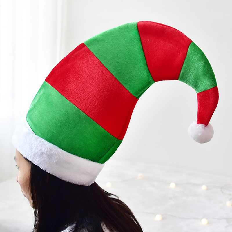 One Size Fits Most Christmas Elf Hat adults Red Green Striped DesignNon-woven Elf Hat With White Pom Poms