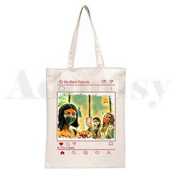 Ice Coffee Splatter Charli DAmelio Ulzzang Print Reusable Shopping Women Canvas Tote Bags Eco Shopper Shoulder Bags 14