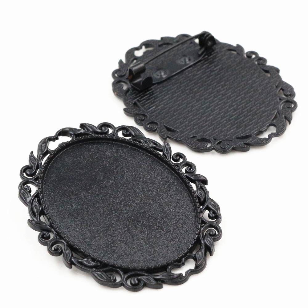 New Fashion  5pcs 30x40mm Inner Size Black Colors Plated Pin Brooch Pierced Style Base Setting Pendant-B1-12