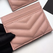 2020 Women fashion caviar small card bag wallet with coin and card Y line stitching without take up space for you bag(China)