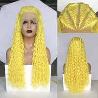 RONGDUOYI Long Synthetic Lace Front Wigs for Women Yellow Hair Braided Box Braids Wig High Temperature Fiber Hair Lace Wigs