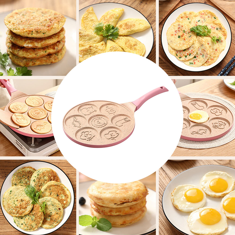 7 Holes Waffle Breakfast Cooking Omelette Pot Porous Baking Frying Pan Kitchen Dumplings Aluminum Alloy Household Non-stick