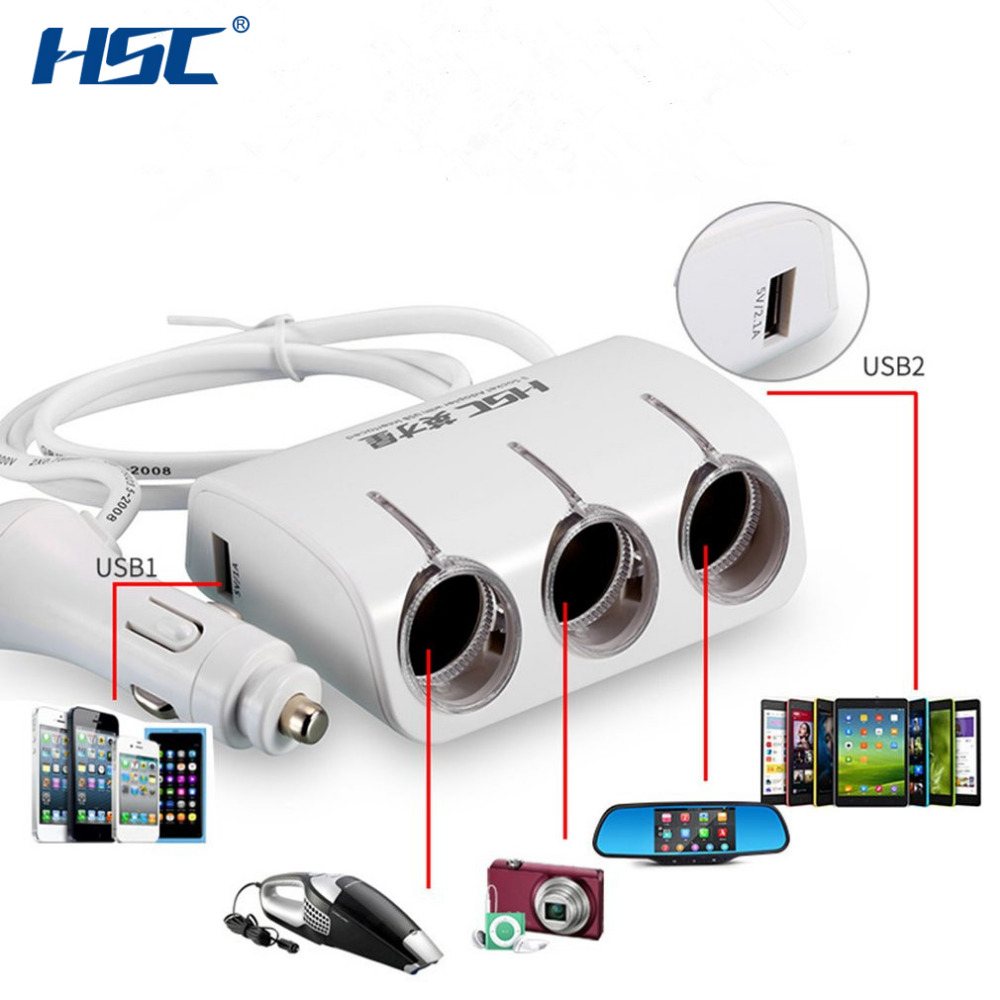 HSC YC401 New Multifunctional <font><b>3</b></font> Way 120W 2 <font><b>USB</b></font> <font><b>Port</b></font> <font><b>Car</b></font> Cigarette Lighter Socket Splitter <font><b>Car</b></font> <font><b>Charger</b></font> Plug <font><b>Adapter</b></font> for <font><b>Car</b></font>/Van image
