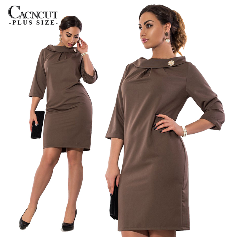 Winter <font><b>6XL</b></font> Plus Size <font><b>Sexy</b></font> <font><b>Dresses</b></font> Women Elegant Half Sleeve Big Large Size <font><b>dress</b></font> 2019 Autumn femme Office Clothing Vestidos 5XL image