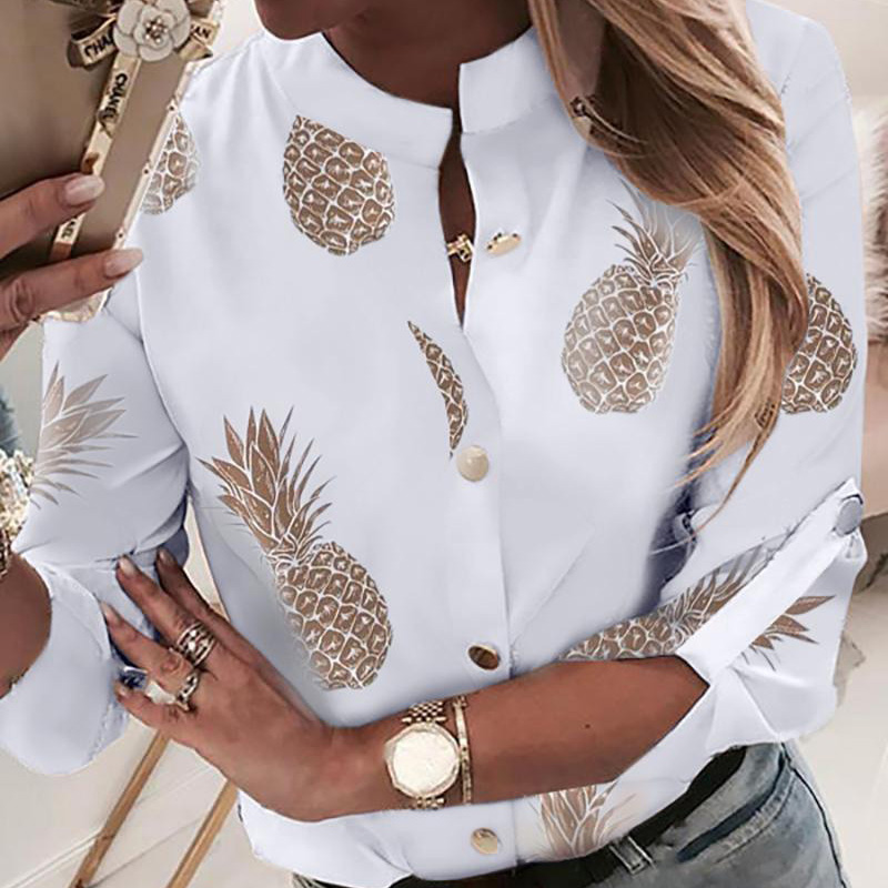 Oeak Pineapple Blouse Women 2019 White Long Sleeve Shirt Button Tops And Blusa Casual Top Female Autumn