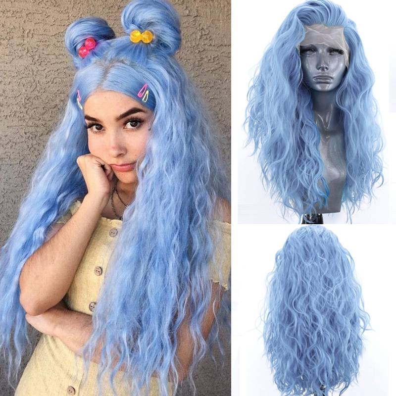 Charisma Light Blue Hair Long Curly Wigs with Baby Hair Glueless Synthetic Lace Front Wig Cosplay Wigs for Women
