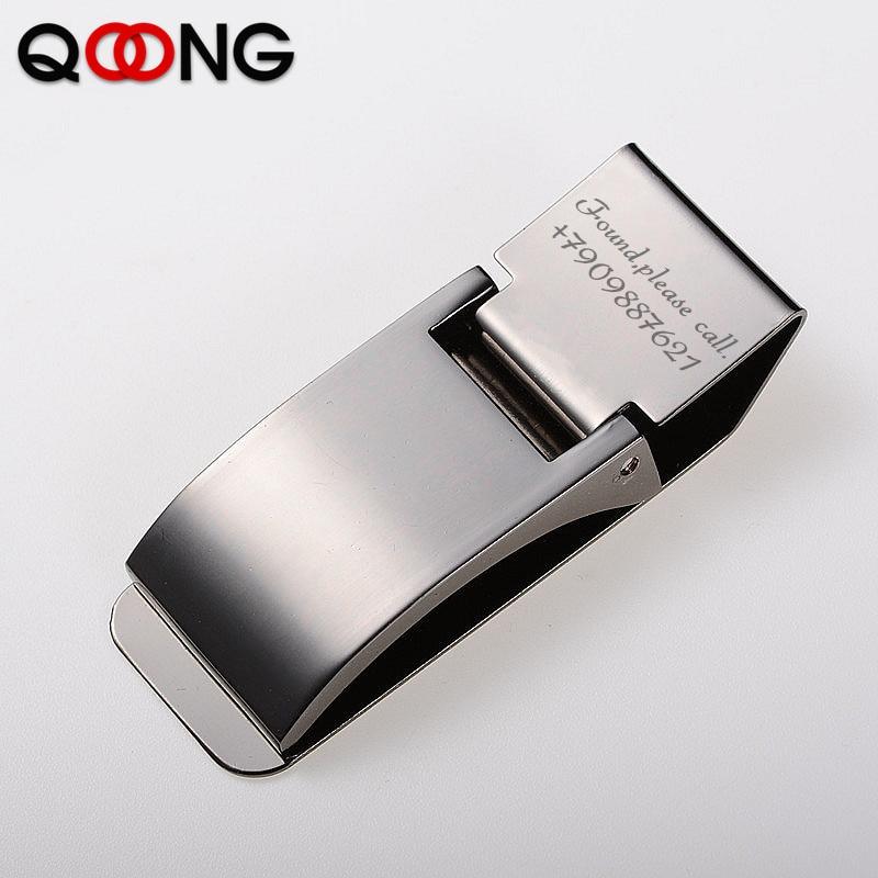 Qoong personalizado gravura em aço inoxidável duas cores titular clipe de dinheiro bolso fino id de dinheiro cartão de crédito metal bill clips carteira