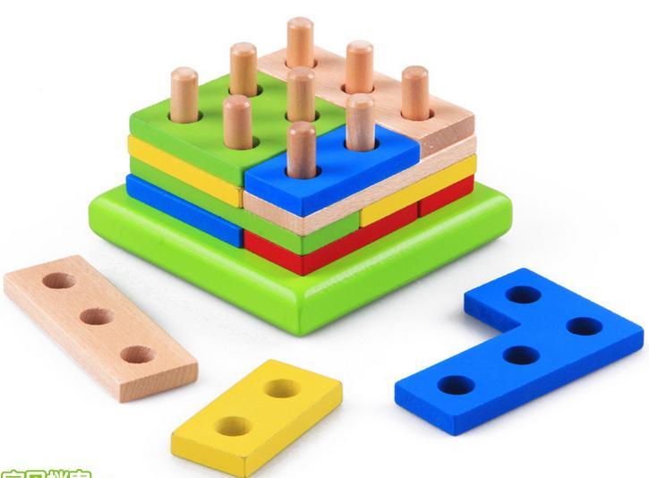 Gratis frakt Barn klassiska träintelligensblock kombinerade geometri form matchande Block, Baby pedagogiskt trä block leksak