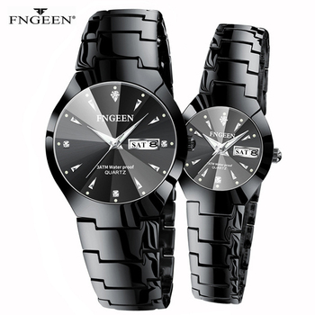 Couple Watches for Lovers Quartz Wristwatch Fashion Business Men Watch for Women Watches Tungsten Steel Coffee Gold Pair Hour 2