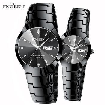 Couple Watches for Lovers Quartz Wristwatch Fashion Business Men Watch for Women Watches Tungsten Steel Coffee Gold Pair Hour